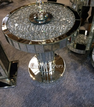 * New Diamond Crush Sparkle Crystal Round Mirrored Lamp Table