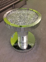 * New Diamond Crush Sparkle Crystal Round Mirrored Lamp Table in stock