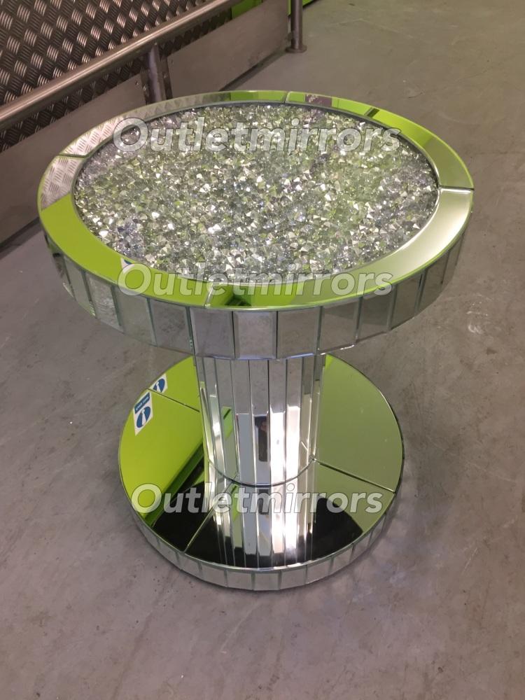 * New Diamond Crush Sparkle Crystal Round Mirrored Lamp Table