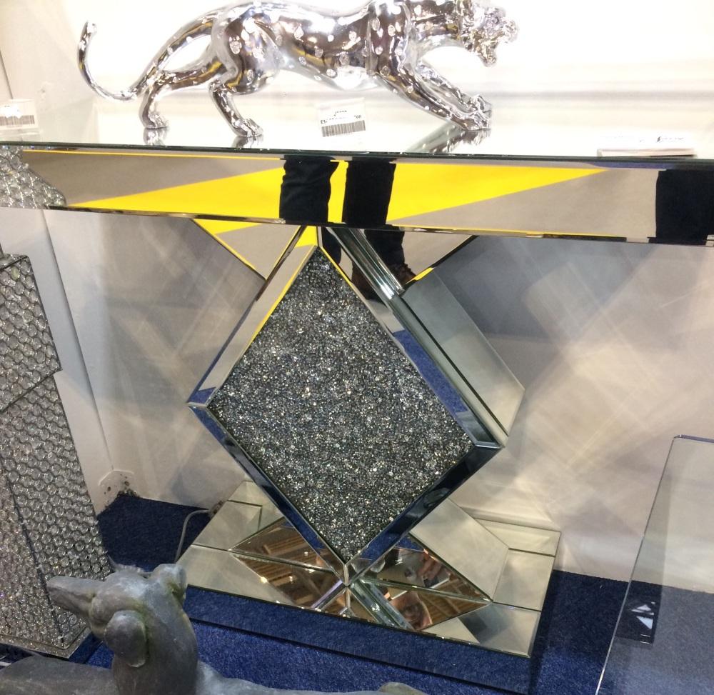 *Diamond Crush Sparkle Crystal Diamond Console Table 90cm