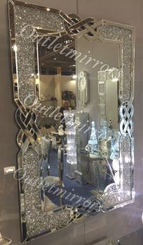 * New Diamond Crush Crystal Anabelle Wall Mirror 120cm x 80cm - item in stock