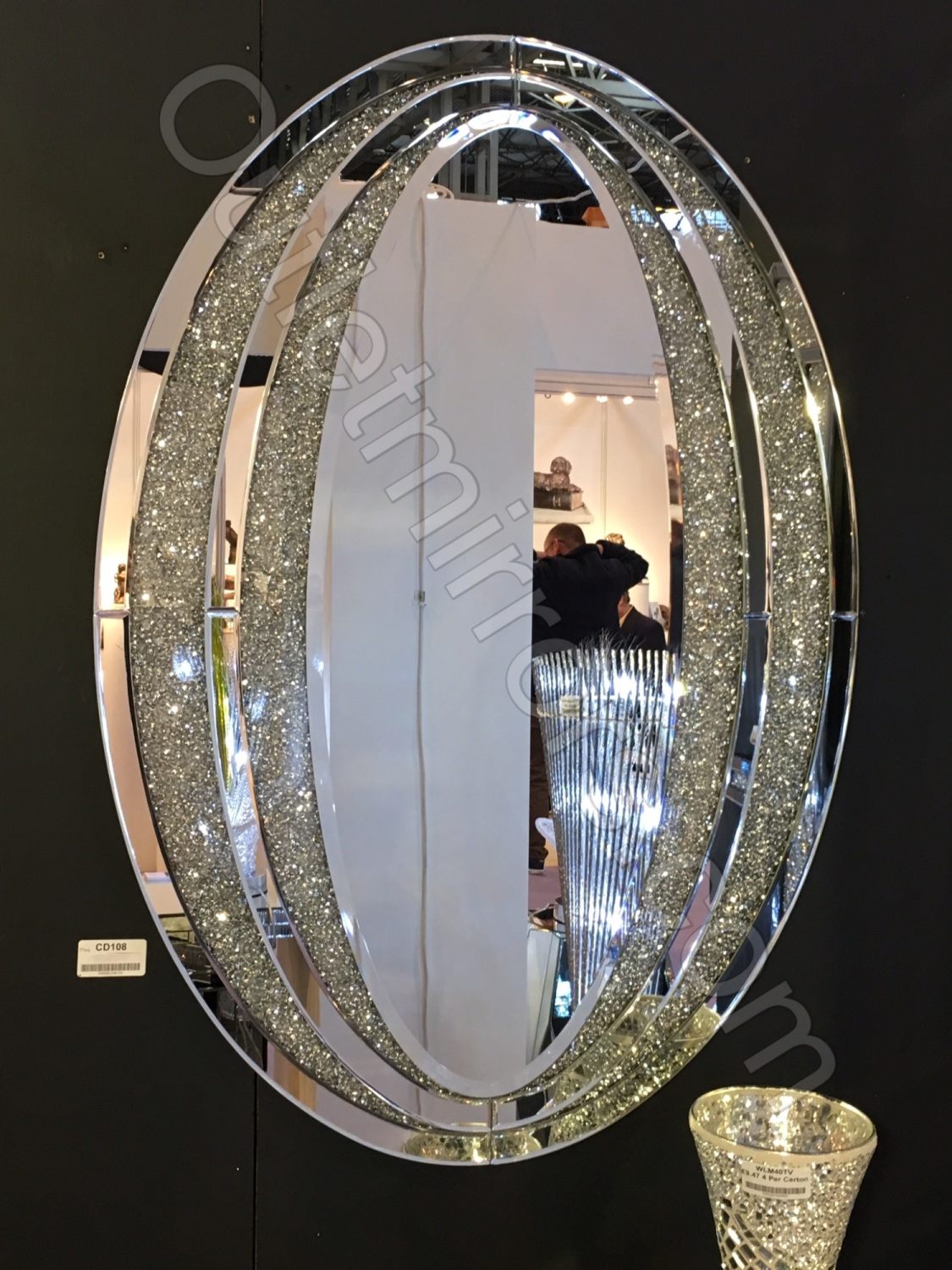 New Diamond Crush Sparkle Oval Wall Mirror Item In Stock