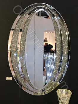 Diamond Crush Sparkle Oval Wall Mirror item in stock