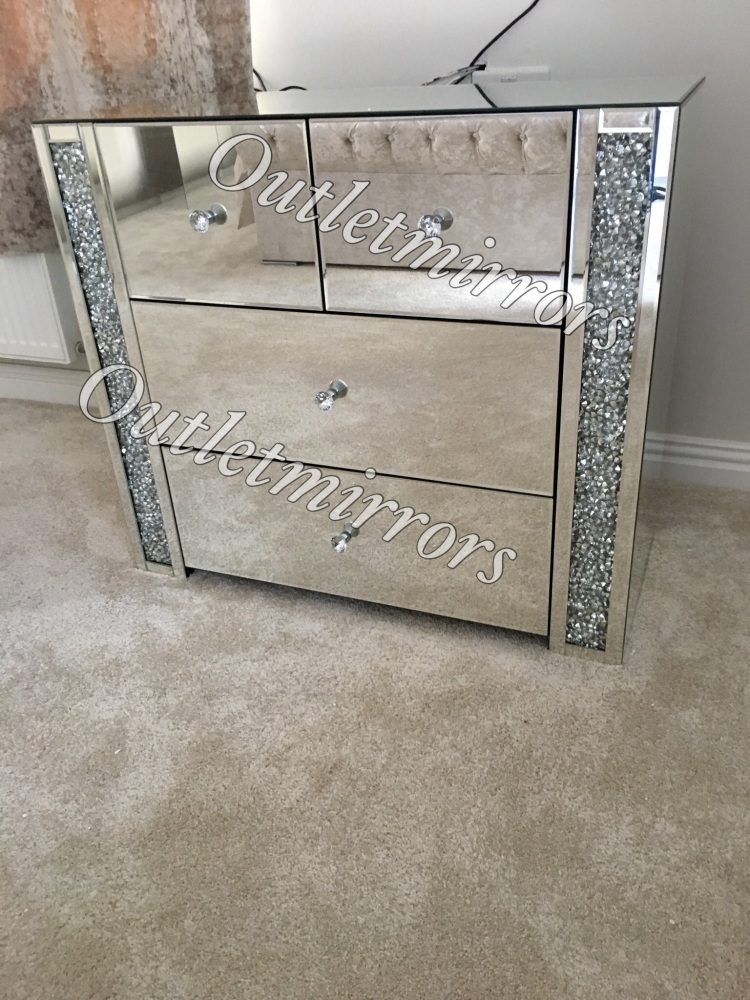 *Diamond Crush Sparkle Crystal Mirrored 4 draw large chest of draws with cr