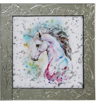 Mirror framed Liquid art Colourful Unicorn 2 60cm x 60cm