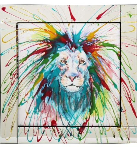 Mirror framed Liquid art Colourful Lion 60cm x 60cm