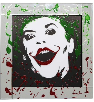Mirror framed Liquid art Colourful Joker 60cm x 60cm
