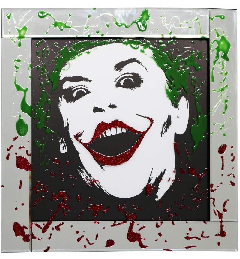 Mirror framed Liquid art Colourful Joker 60cm x 60cm