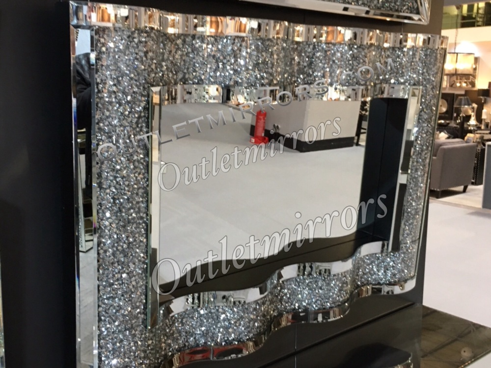 * New Diamond Crush Sparkle Wave Wall Mirror 120cm x 80cm item due in stock