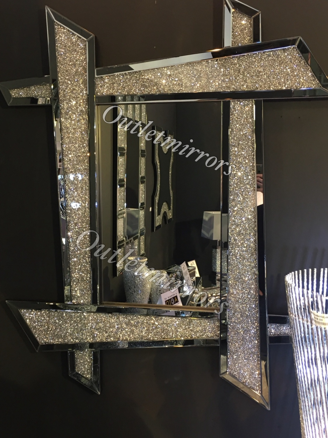 New Diamond Crush Sparkle Zezan Wall Mirror 120cm X 93cm