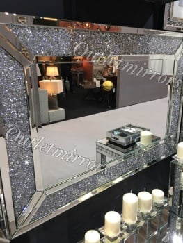 Diamond Crush Sparkle Alexa Wall Mirror 120cm x 80cm In stock for fast delivery
