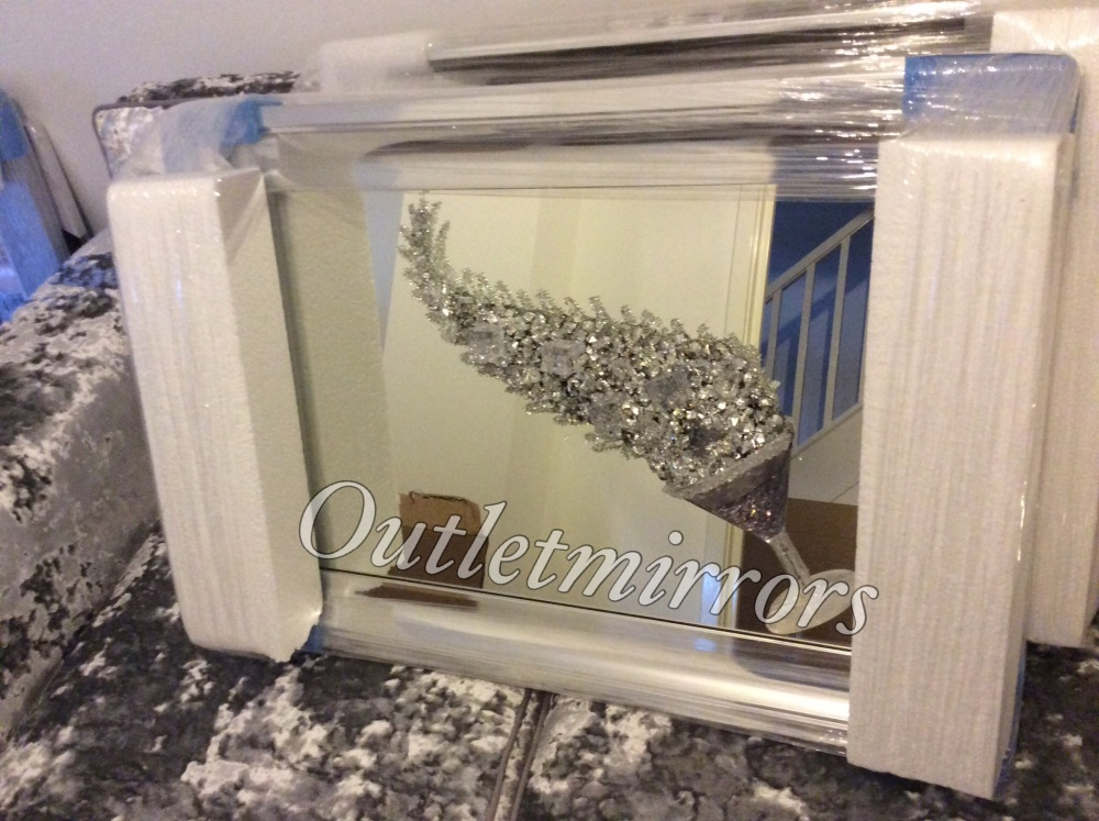 3D Martini Cup (left) Silver wall art on a Silver mirror in a silver chrome