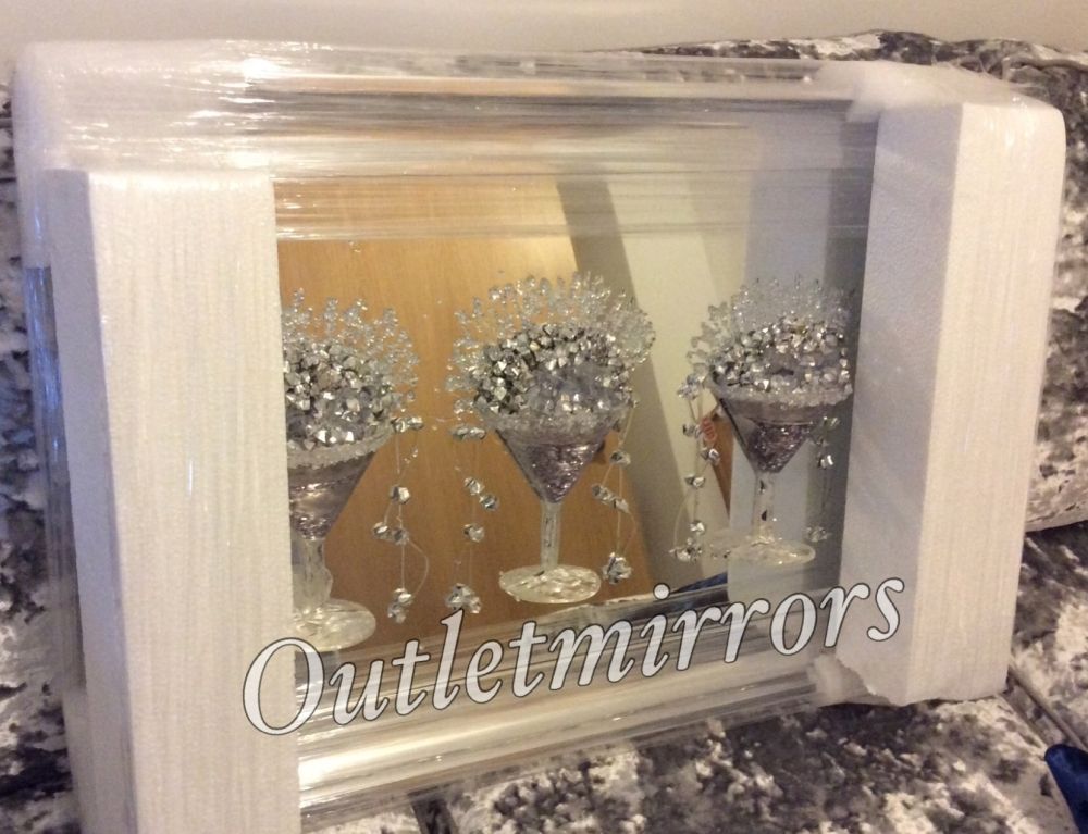 3D Martini 3 cup silver wall art on a Silver mirror backing In a silver Fr