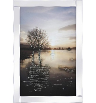 "Mirror framed ""Glitter tree reflection on the Lake "" Wall Art"