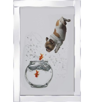 "Mirror framed ""Puppy and Jumping Goldfish "" Wall Art"