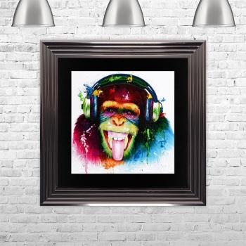 "Patrice Murciano Framed ""DJ Monkey"" print medium 75cm x 75cm"