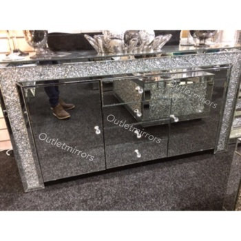 *Diamond Crush Sparkle Crystal Mirrored 4 draw 2 Door Sidebaord with crystal handles