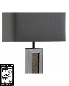 Smoked Copper Crush Sparkle Mirrored Pillar Lamp with shade