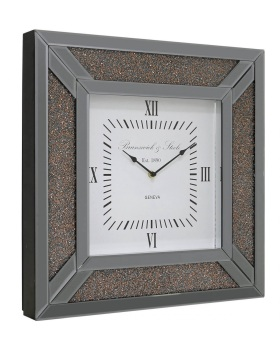 Smoked Diamond Crush Sparkle copper Crystal Mirrored Milano Clock 50cm x 50cm instock for a fast delivery