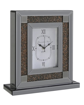 Smoked Diamond Crush Sparkle copper Crystal Mantle Clock