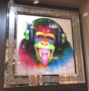 "Patrice Murciano Framed ""monkey"" print in Diamond Crush Frame 90cm x 90cm item in stock"