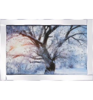 "Mirror framed ""Sparkle snowy tree"" Wall Art"