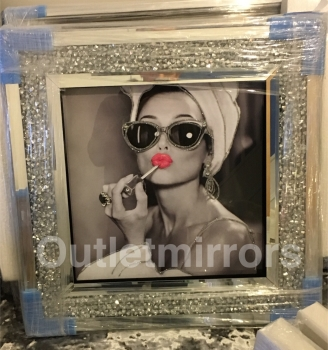 "Mirror framed ""Glamour Lady"" Wall Art in a diamond crush frame"