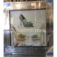 """Mirror framed """"Sparkle Shoes"""" Wall Art in a mirror frame"""