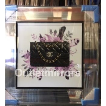 "Mirror framed ""Sparkle Handbag"" Wall Art in a mirror frame"
