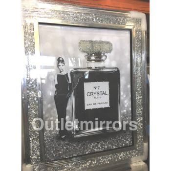 """Audrey Hepburn No 7 Crystal Perfume"" Wall Art in a diamond crush mirrored Frame"
