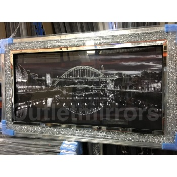 """Stunning City View"" Wall Art in Mirrored Diamond Crush  Frame"