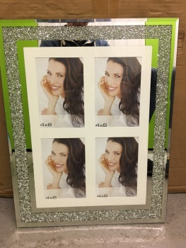 "Milano collage 4 Crush Sparkle Glitter Mirror Photo frame 4"" x 6"" portrait"