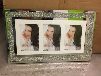 "Milano collage 3 Crush Sparkle Glitter Mirror Photo frame 4"" x 6"" Landscape"