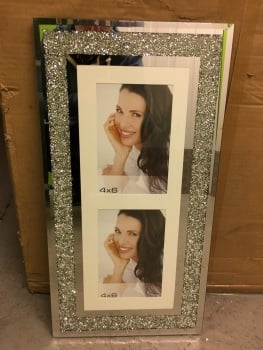 "Milano collage 2 Crush Sparkle Glitter Mirror Photo frame 4"" x 6"""