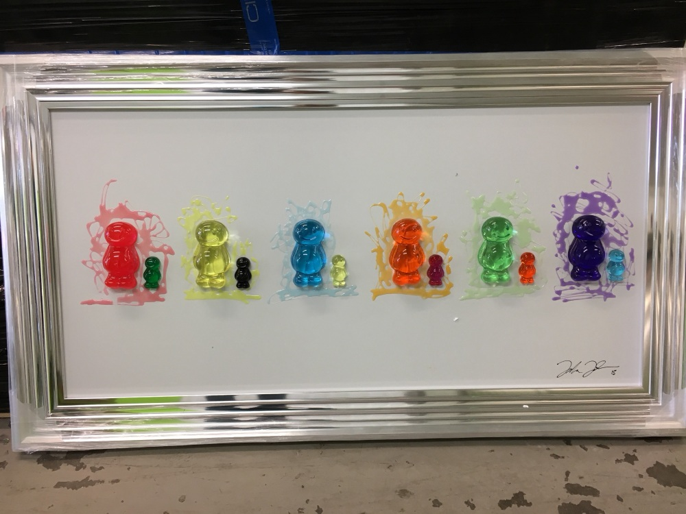 Jake Johnson 3D colourful Jelly Babies wall art on a white gloss background