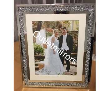 "Diamond Crush Mirror Photo frame 8"" x 10"
