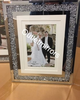 "Diamond Crush Mirror Photo frame 4"" x 6"""