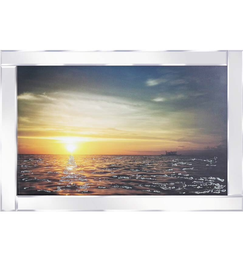 Mirror framed art print Sunset 100cm x 60cm