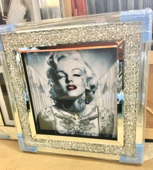 """Monroe Tattoo Glamour "" Wall Art in a diamond crush frame"
