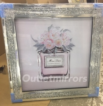 """Mirror framed """"Miss Dior Blooming Bouquet """" Wall Art in a diamond crush frame"""