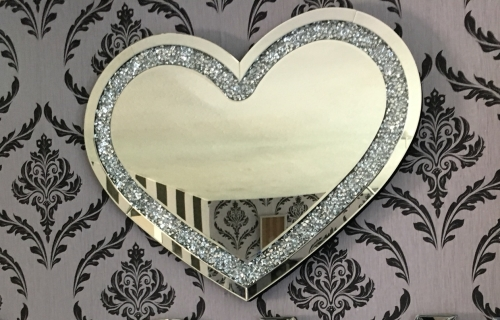 * New Diamond Crush Sparkle Heart Wall Mirror 90cm x 70cm item in stock