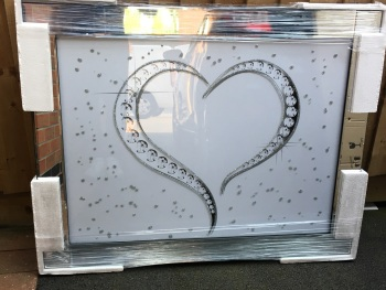 "Mirror framed art print "" Sparkle Love Heart"" 100cm x 60cm"