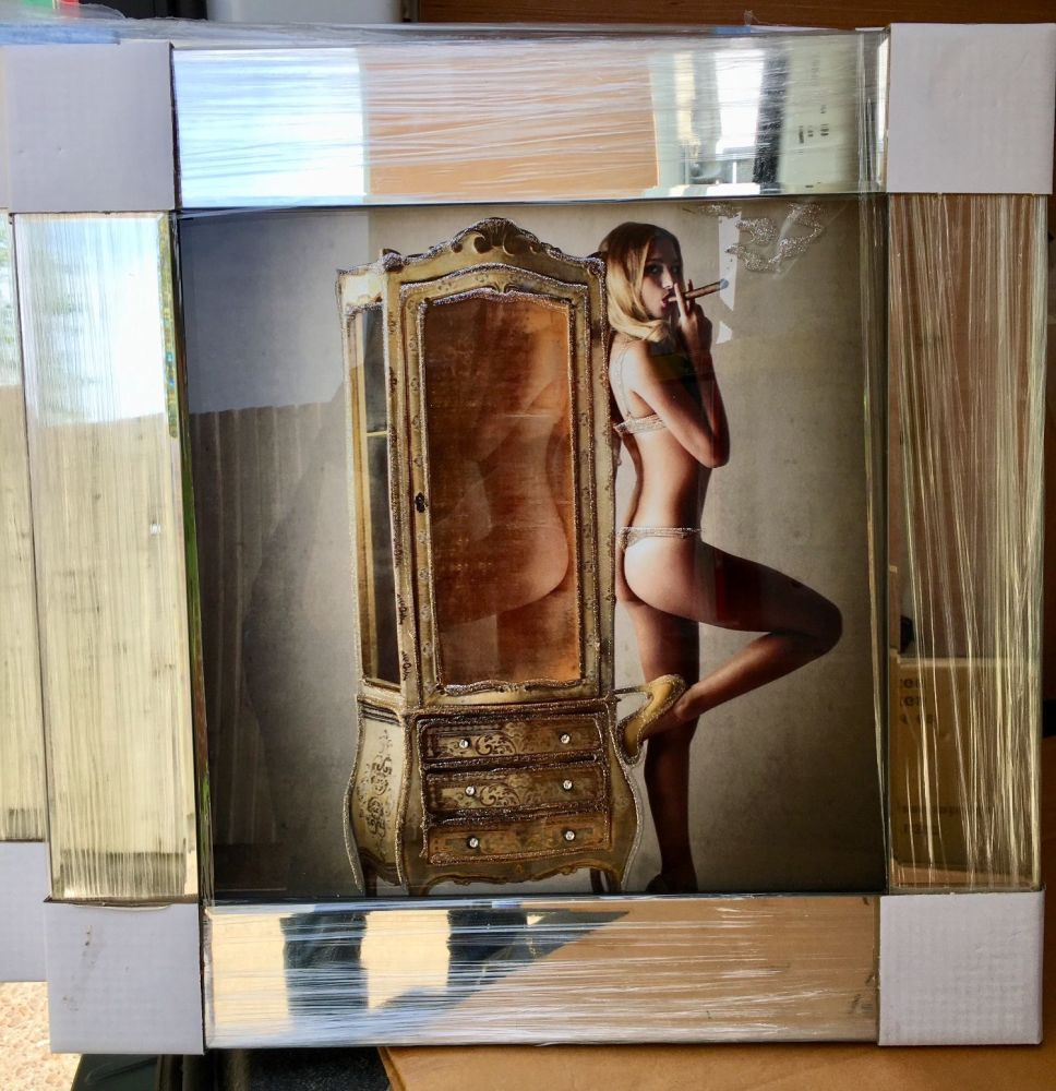 Mirror framed classic Cigar smoking Naked Lady 1 Wall Art