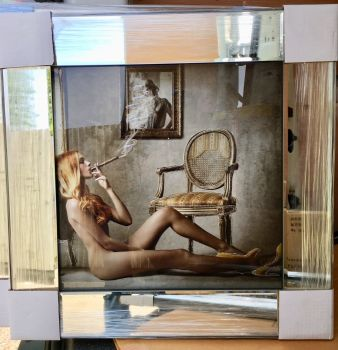 Mirror framed classic Cigar smoking Naked Lady 2 Wall Art