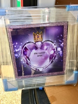 Mirror framed Sparkle Purple Love Wall Art