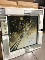 "Mirror framed art print ""Champagne Cork Popping"" 60cm x 60cm"