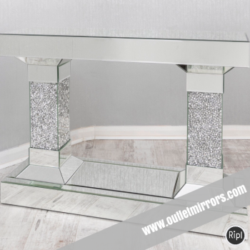 *Diamond Crush crystal Sparkle Pillar Console Table 110cm  wide item in stock