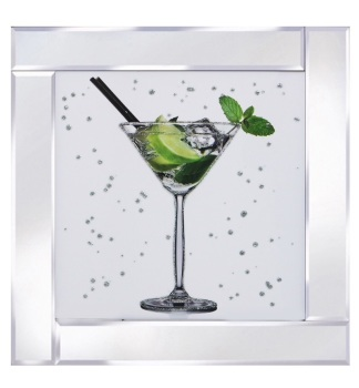 "Mirror framed art print ""Cocktail Mojito"""