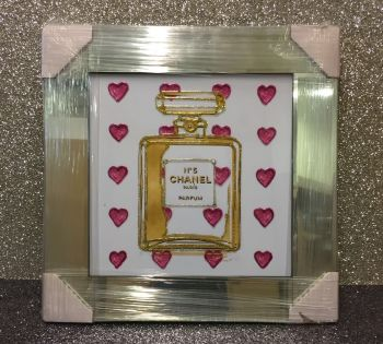 "Mirror framed Sparkle Glitter Art ""Chanel No 5 Red Hearts"""