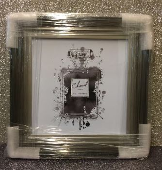 "Framed Sparkle Glitter Art ""Chanel Paris Perfume"" black and grey stepped frame"